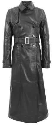 Womens Full Length Long Black Leather Trench Coat Trinity 2