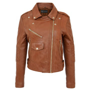 Womens Short Fitted Cognac Biker Style Real Leather Jacket Ayla Colse Neck