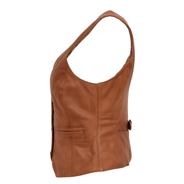 Womens Soft Leather Waistcoat Slim Fit Vest Classic Gilet Katy Tan Side