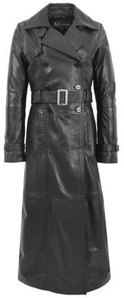 Womens Full Length Long Black Leather Trench Coat Trinity 3