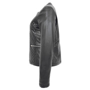 Women Collarless Black Leather Jacket Fitted Quilted Zip Up - Remi Side