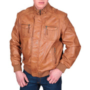 Mens Bomber Soft Leather Jacket Zip Fasten Ryan Tan side
