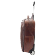 Wheeled Cabin Suitcase Real Brown Leather Luggage Travel Bag Carlos Side