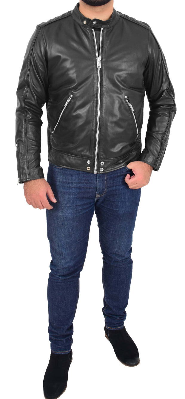 Mens Trendy Slim Fit Leather Biker Jacket Colt Black 3