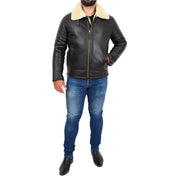 Mens Original Sheepskin Flying Jacket B3 Bomber Aviator Pilots Shearling Coat Raptor Brown/White Full