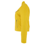 Womens Fitted Leather Biker Jacket Casual Zip Up Coat Jenny Yellow Side