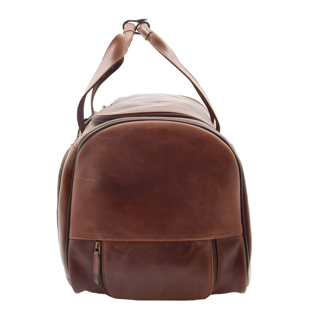 Wheeled Brown Leather Holdall Telescopic Handle Travel Duffle Ozwald Side