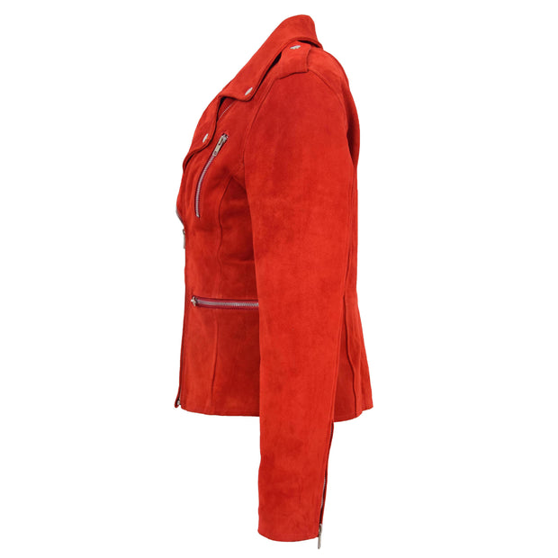 Womens Genuine X-Zip Fitted Biker Red Suede Leather Jacket Rusty 3