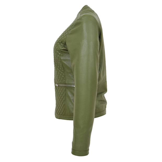 Women Collarless Olive Green Leather Jacket Fitted Quilted Zip Up - Remi Side
