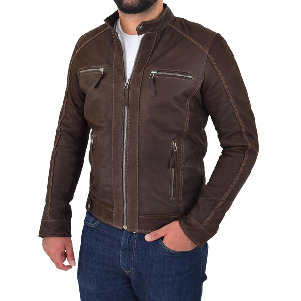 Mens Brown Waxed Skipper Real Leather Biker Style Jacket Captain Front 1