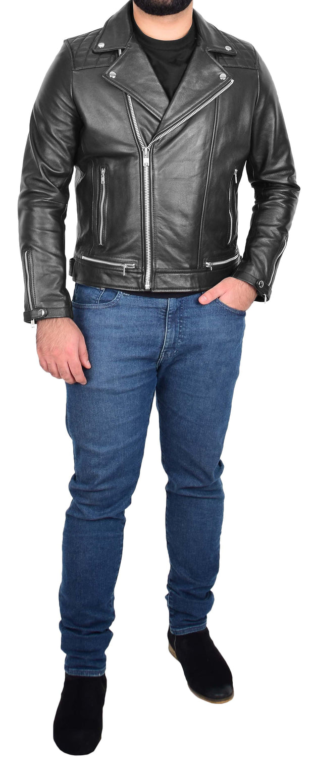 Men Genuine Black Cowhide Biker Leather Jacket Trendy Cafe Racer Brando Cruz 3