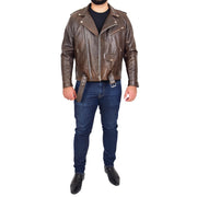 Mens Genuine Cowhide Biker Jacket Heavy Duty Antique Brown Leather Coat Rock Full