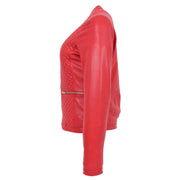 Women Collarless Red Leather Jacket Fitted Quilted Zip Up - Remi Side
