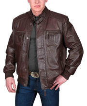 Mens Bomber Soft Leather Jacket Zip Fasten Ryan Brown side view