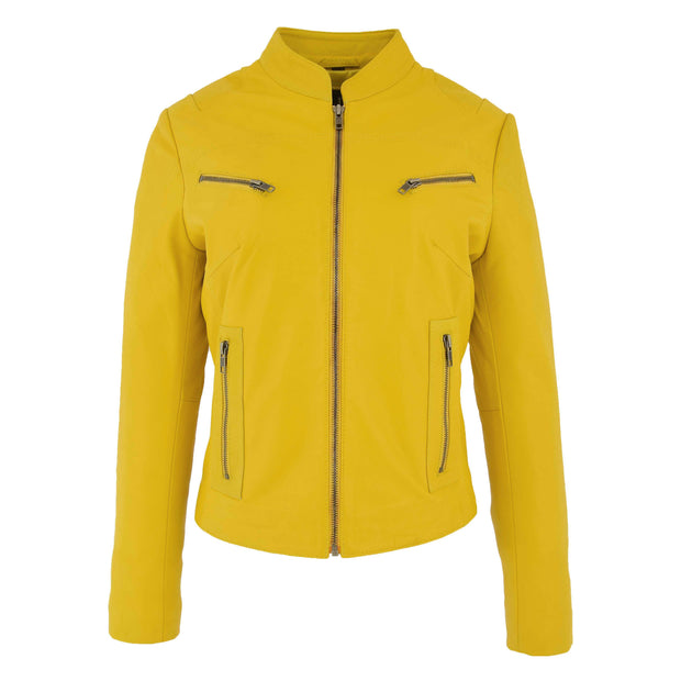 Womens Fitted Leather Biker Jacket Casual Zip Up Coat Jenny Yellow 2