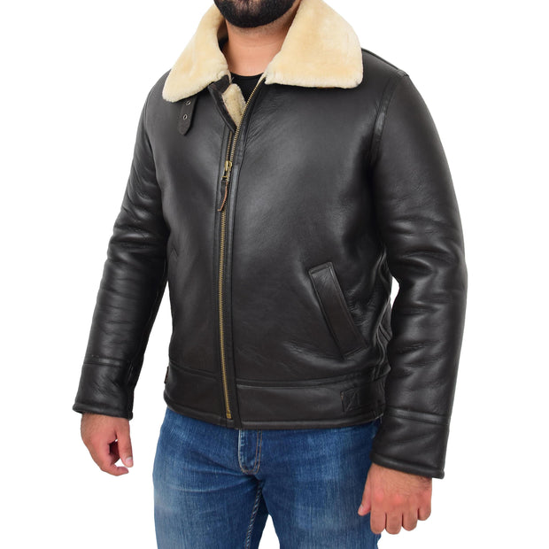 Mens Original Sheepskin Flying Jacket B3 Bomber Aviator Pilots Shearling Coat Raptor Brown/White Front 1