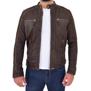 Mens Brown Waxed Skipper Real Leather Biker Style Jacket Captain Open 2