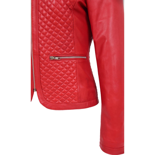 Women Collarless Red Leather Jacket Fitted Quilted Zip Up - Remi Feature 2