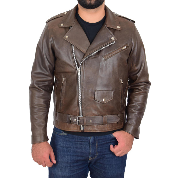 Mens Genuine Cowhide Biker Jacket Heavy Duty Antique Brown Leather Coat Rock Front 1