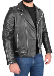 Men Genuine Black Cowhide Biker Leather Jacket Trendy Cafe Racer Brando Cruz 4