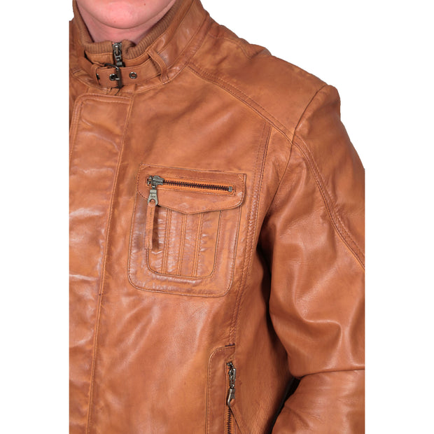 Mens Bomber Soft Leather Jacket Zip Fasten Ryan Tan feature view