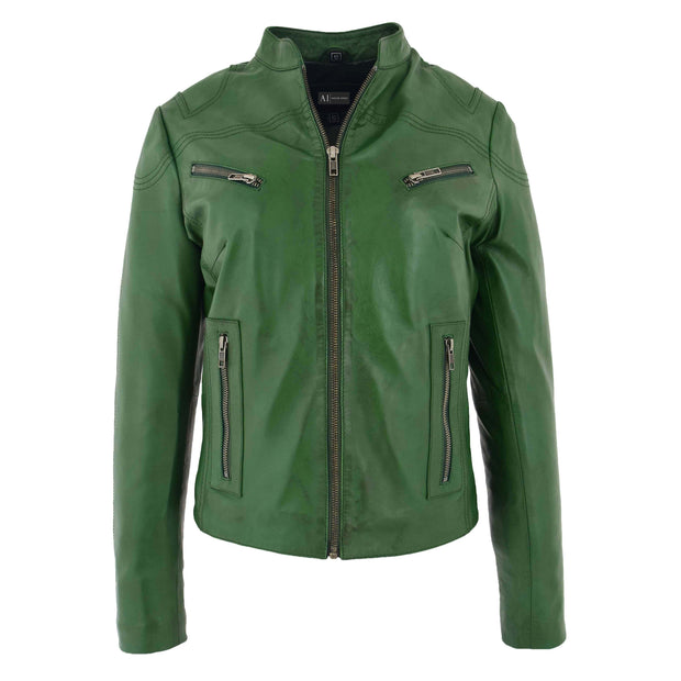 Womens Fitted Leather Biker Jacket Casual Zip Up Coat Jenny Green 2