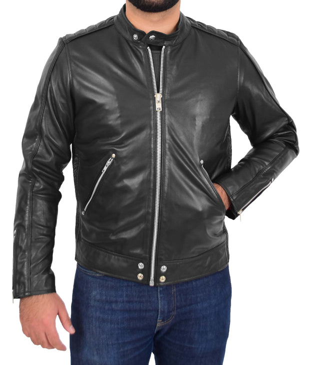 Mens Trendy Slim Fit Leather Biker Jacket Colt Black 4