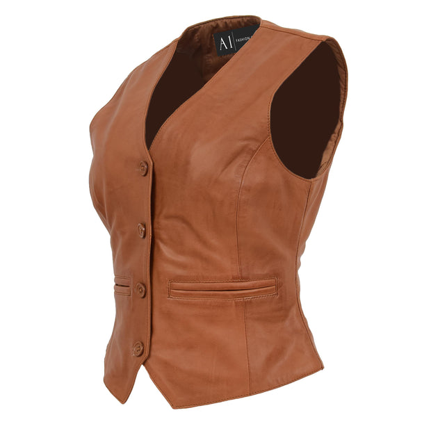 Womens Soft Leather Waistcoat Slim Fit Vest Classic Gilet Katy Tan Front Angle