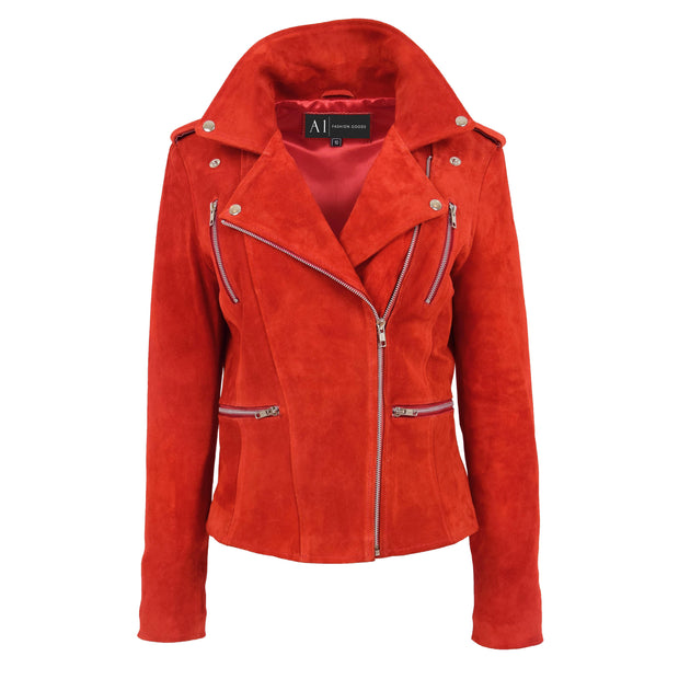 Womens Genuine X-Zip Fitted Biker Red Suede Leather Jacket Rusty 4