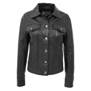 Womens Real Leather Jacket Fitted Denim Biker Style Coat Marisa Black Front 1