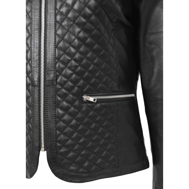 Women Collarless Black Leather Jacket Fitted Quilted Zip Up - Remi Feature 1