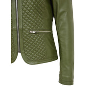 Women Collarless Olive Green Leather Jacket Fitted Quilted Zip Up - Remi Feature 2
