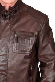 Mens Bomber Soft Leather Jacket Zip Fasten Ryan Brown feature view