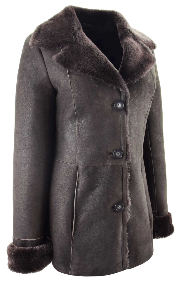 Womens Real Sheepskin Brown Jacket Classic 3/4 Mac Merino Shearling Trench Zona-4
