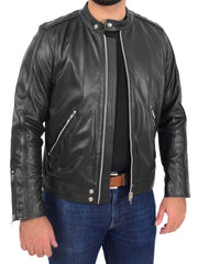 Mens Trendy Slim Fit Leather Biker Jacket Colt Black 5