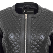 Women Collarless Black Leather Jacket Fitted Quilted Zip Up - Remi Feature 2