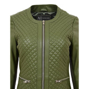 Women Collarless Olive Green Leather Jacket Fitted Quilted Zip Up - Remi Feature 1