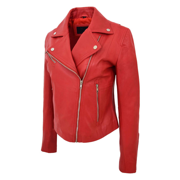Womens Soft Genuine Leather Biker Jacket Slim Fit Coat Julie Red Front 3