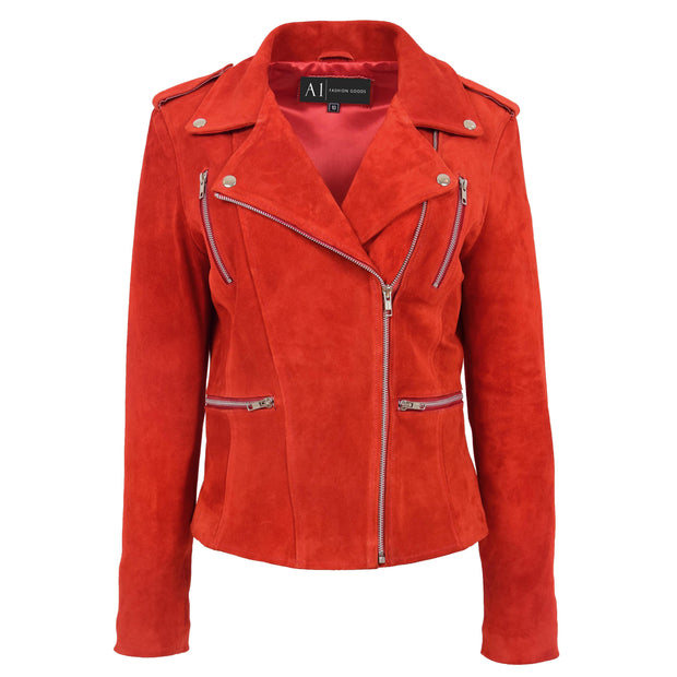 Womens Genuine X-Zip Fitted Biker Red Suede Leather Jacket Rusty 5