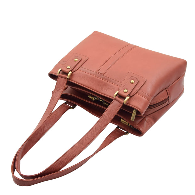 Womens Leather Shoulder Bag Multi Zip Pockets Handbag Polly Brown Top View
