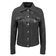 Womens Real Leather Jacket Fitted Denim Biker Style Coat Marisa Black