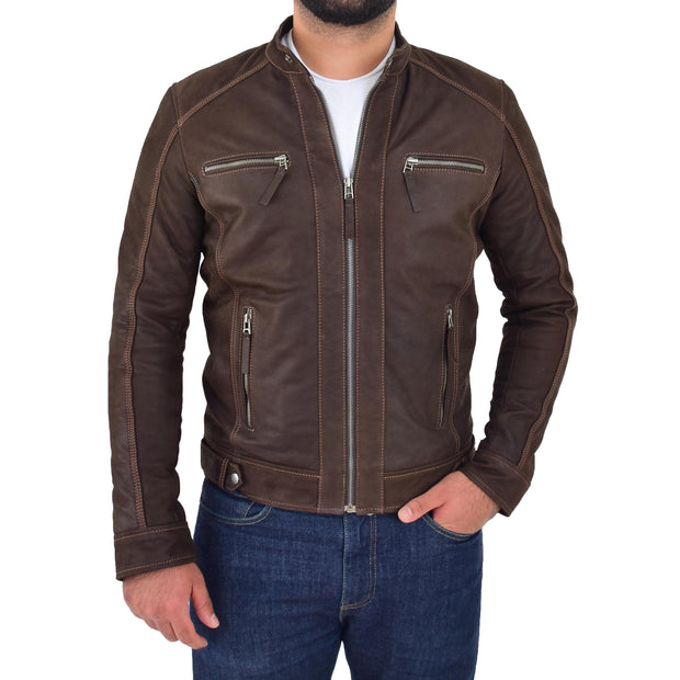 Mens Brown Waxed Skipper Real Leather Biker Style Jacket Captain Front 2