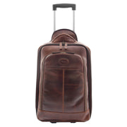 Wheeled Cabin Suitcase Real Brown Leather Luggage Travel Bag Carlos Front 1