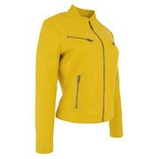 Womens Fitted Leather Biker Jacket Casual Zip Up Coat Jenny Yellow 3