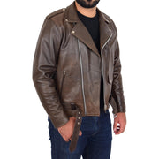 Mens Genuine Cowhide Biker Jacket Heavy Duty Antique Brown Leather Coat Rock Open 3