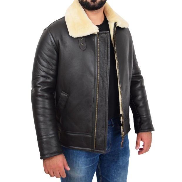 Mens Original Sheepskin Flying Jacket B3 Bomber Aviator Pilots Shearling Coat Raptor Brown/White Front Open 2