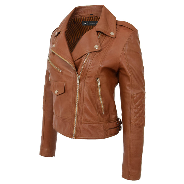 Womens Short Fitted Cognac Biker Style Real Leather Jacket Ayla Front 2