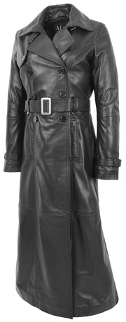Womens Full Length Long Black Leather Trench Coat Trinity 5