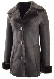 Womens Real Sheepskin Brown Jacket Classic 3/4 Mac Merino Shearling Trench Zona-5