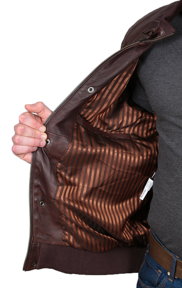 Mens Bomber Soft Leather Jacket Zip Fasten Ryan Brown lining view